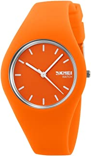 TONSHEN Simple Fashion Analog Quartz Watch Rubber Band Casual Style Wrist Watches for Women Girl 12 Colours (Orange)