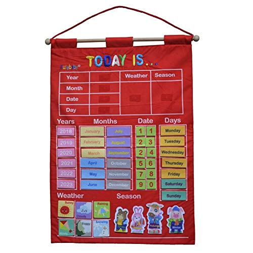 Courti Calendario De Herramientas De Enseñanza, Kindergarten Infant Teaching Aid Educational Toy Cloth Learning English Letter Weather Date Season Calendar Teach Your Child, 43.5x63.5cm