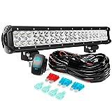 Nilight LED Light Bar 20Inch 126W Spot Flood Combo Led Off Road Lights 12V 5Pin Rocker Switch LED Light Bar Wiring Harness Kit, 2 Years Warranty, Model: ZH082