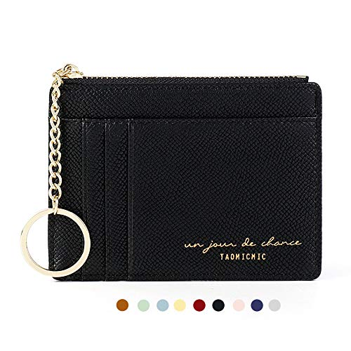 Slim Minimalist RFID Blocking Leather Wallets Credit Card Holder Case Money Clip Pocket Wallet Coin Purse Keychain Travel Clutch Handbag Pocket Pouch Holster Gifts for Women Men (Black)