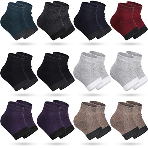 12 Pairs Heel Moisturizing Socks Open Toe Socks Cracked Gel Heel Socks Foot Toeless Heel Repair Socks for Women Girls Dry Hard Cracked Feet, 8 Colors (Bright Color)