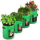 FYTENG Bolsas para Plantar Papas, 4pcs 10 Galones Bolsa No Tejida,Macetero Bolsa Planta Es Adecuado para Papas, Tomates, Zanahorias, Bolsas para Plantar Batatas (Verde Hierba)