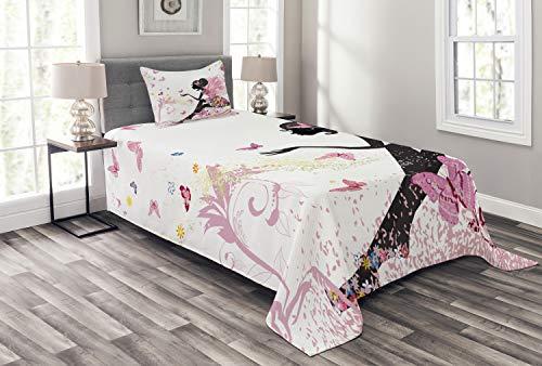 ABAKUHAUS Mädchen Tagesdecke Set, Magischer Fantasie-Garten, Set mit Kissenbezug Waschbar, für Einzelbetten 170 x 220 cm, Multicolor