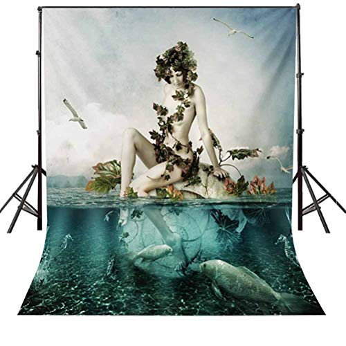 Mermaid 6.5x10 FT Backdrop Photographers,Mythological Woman Sitting on a Shell with Leaves Birds Clouds Over Magic Sea Background for Baby Birthday Party Wedding Vinyl Studio Props Photography
