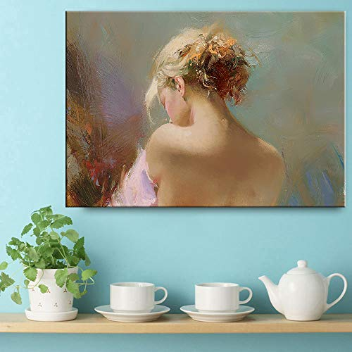 Retro Mode europäischen Leinwanddruck Malerei Plakat Kunst Wandbild für Wohnzimmer Retro Charakter Körper nach Hause rahmenlose dekorative Leinwand Gemälde A72 30x40cm