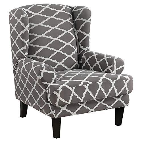 papasgix Ohrensessel Schonbezug, Elastische Sesselbezug Sesselüberwurf Sofaüberwurf Stretch Schutzhülle mit Modern Muster Sessel Husse für Ohrensessel(Grau #1)