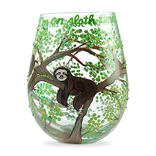 Enesco Designs by Lolita Sloth Time Hand-Painted Artisan Stemless Wine Glass, 20 Ounce, Multicolor