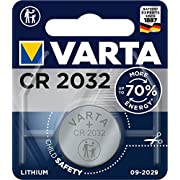 VARTA Batteries Electronics CR2032 Lithium button cell 3V battery, Button cells in original blister pack of 1