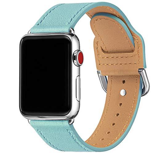Correa MNBVCXZ compatible con Apple Watch de 38 mm, 40 mm, 42 mm, 44 mm, correa de repuesto de piel auténtica, varias bandas de colores para iwatch Series 5/4/3/2/1 (42 mm 44 mm, Tiffany azul/plata)