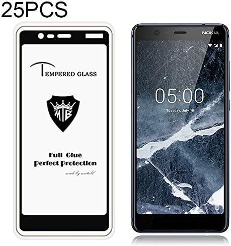 Glass Film Black Color : Black DESHENG Clear Screen Protector 25 PCS MIETUBL Full Screen Full Glue Anti-Fingerprint Tempered Glass Film for Nokia 5.1