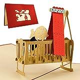 Tarjetas felicitacion, tarjetas regalo para nacimiento bebe. Tarjeta de felicitacion nacimiento con bebe en cuna de diseño 3d desplegable para madres y amigas, G09.1