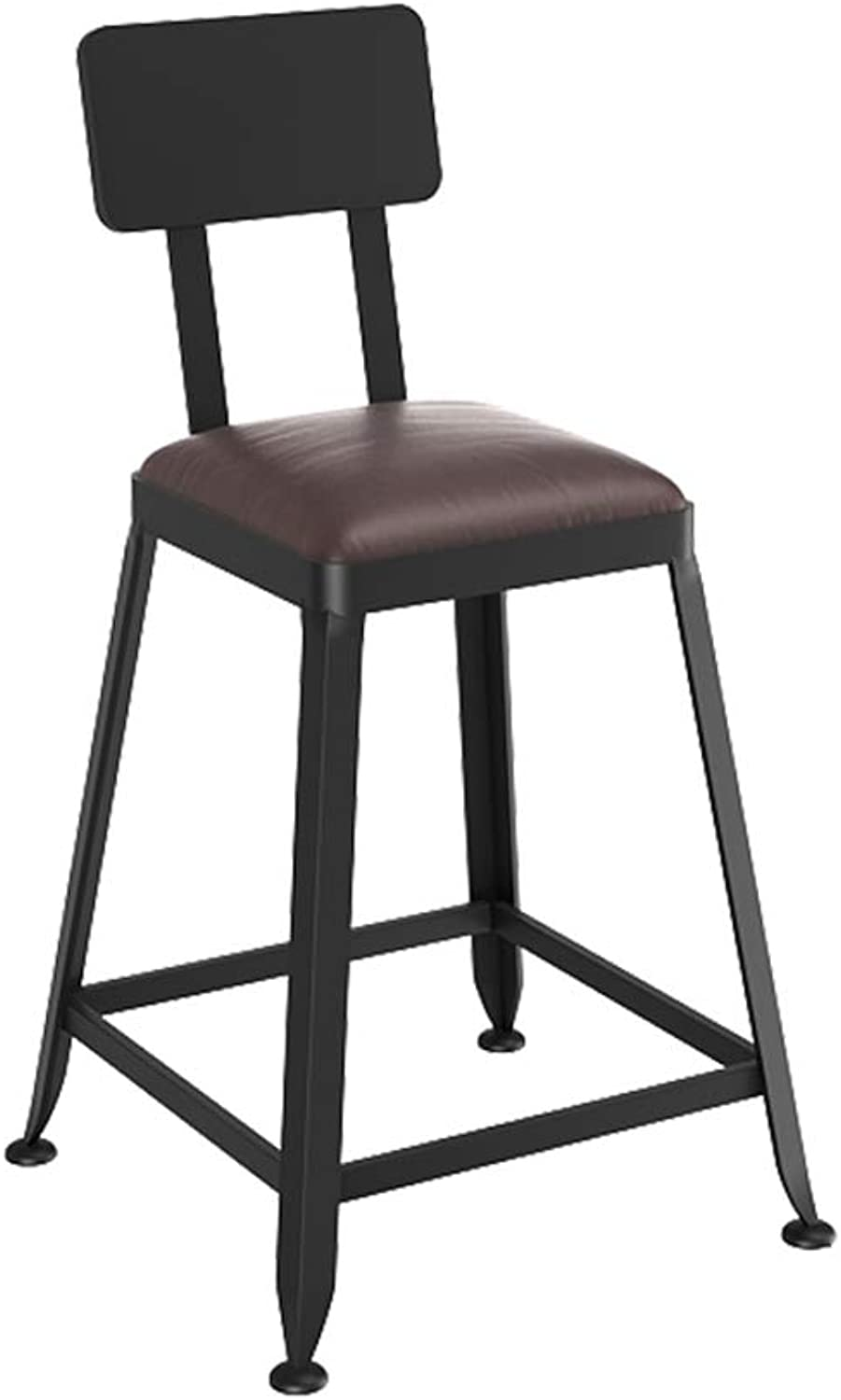 Industrial Wind Wrought Iron Bar Chair Solid Wood Bar Stool High Stools Bar Chairs (Size   45CM)