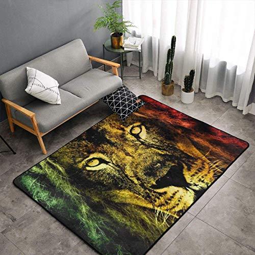 Alfombra para dormitorio, sala de estar, cocina, tamaño grande, arte para el hogar, diseño de León de Judah Rastafarian Reggae