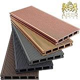 AISER Royal WPC Terrassen-Dielen 2-50 m² [Größenauswahl] Steingrau/Anthrazit/Coffee/Zeder [Farbauswahl] Boden-Dielen Komplettset inkl. Unterkonstruktion und Zubehör