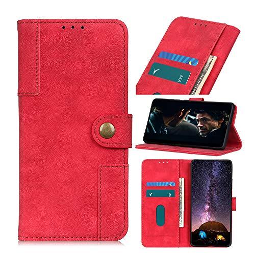 Fatcatparadise Cover per Nokia C3 [avec Verre Trempé], [Gratuito Vetro Temperato Screen Protector], [Fibbia in Rame Serie] Flip Caso in Pelle Portafoglio Silicone PU per Nokia C3(Rosso)