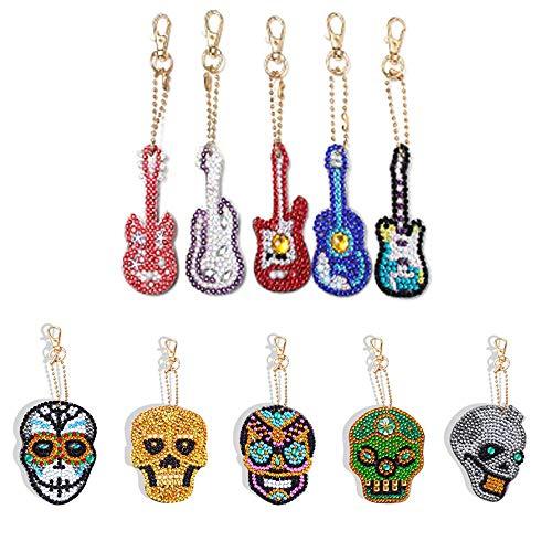 Jestang 5D-Diamantmalerei-Schlüsselanhänger, 5-teilig, Eulenform, Mosaik, komplettes Bohrer-Set für Taschen, Gitarre und Totenkopf, 10 Stück
