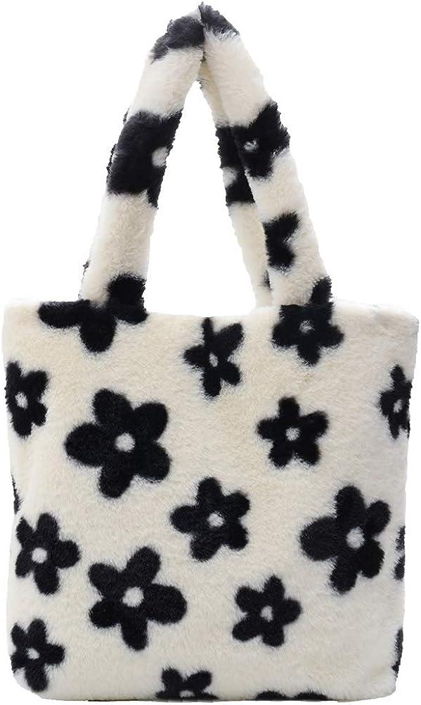 Retro Flower Printed Plush Handbag Top-handle Shoulder Award Challenge the lowest price of Japan ☆ Women Bag