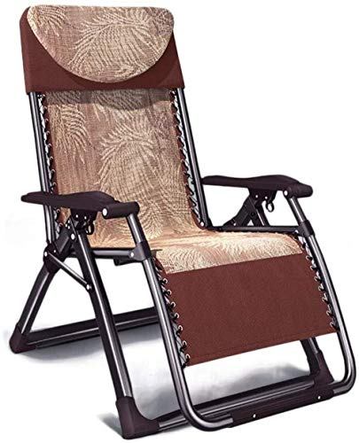 Garden Reclining Recliner Chair Zero Gravity, Chaise Sun Lounger Waterproof Folding Deck Chair Lightweight for Outdoor Patio Beach Camping, Brown, H025ZJ