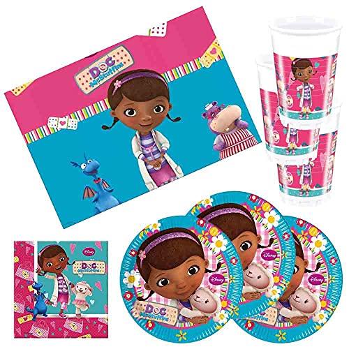 lefantasiedicasa.com Kit Festa 37 Pezzi Dottoressa Peluches Coordinato Compleanno per 8 Bambini.