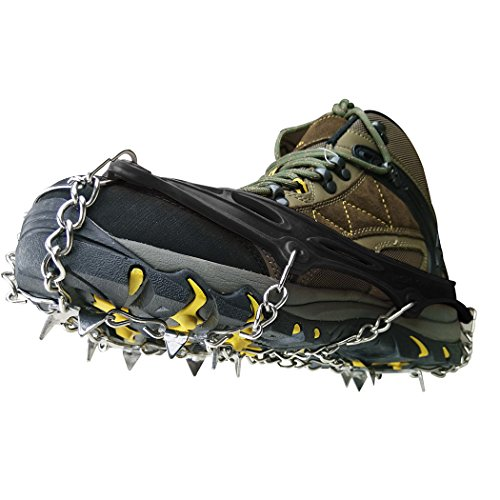 BINGUO 12 Teeth Anti-Slip Traction Cleats Grips Crampon for Snow and Ice Safe Protect Shoes Boots