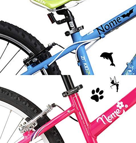 AWS - 2 pegatinas con nombre (de 2 cm de altura) + 2 logotipos para tunear bicicletas infantiles, pegatinas de vinilo para bicicleta, moto, casco, nombre personalizable