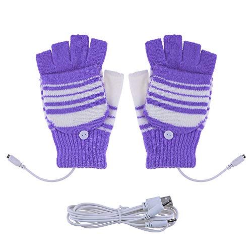 Saftybay Removable Washable USB Rechargeable Heated Gloves,Half Leaky Finger Winter Warm Hand Heating Gloves Warmer for Women Men Girls Students Arthritis (Purple)