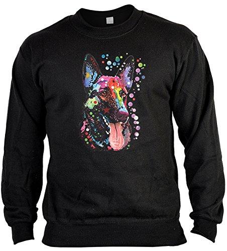 Langarm Sweatshirt, Sweater, Pulli, Pullover mit bunten Hundemotiv - German Shepherd, Deutscher Schäferhund
