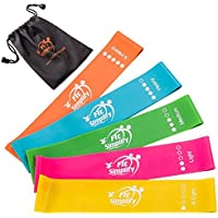 5-Set Fit Simplify 10 Inch Resistance Loop Exercise Bands (Assorted Colors)