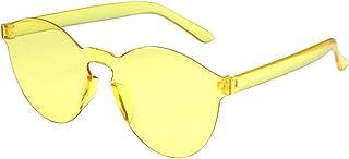 ZEZKT Femmes Lunettes de Soleil polarisées Mode Lunettes UV400 Protection sans Cadre Transparent Gelée Couleur de Fête Cad...
