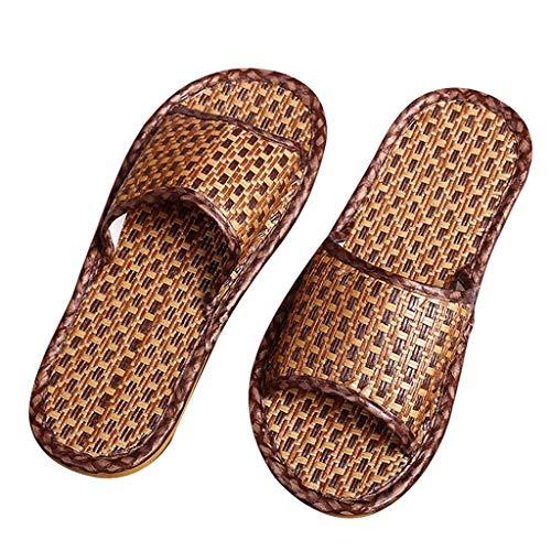 Pantofole Da Casa, Erba In Rattan, Ciabattine Di Fondo, Ciabattine Estive, Sandali E Ciabatte Da Uomo E Da Donna (Color : Brown, Size : 42-43)