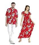 Couple Matching Hawaiian Luau Aloha Shirt Maxi Ruffle Sleeve Dress in Hibiscus Red XL