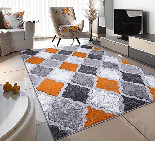 ORANGE RUST SILVER WHITE GREY TRELLIS SMALL MEDIUM XX LARGE RUG NEW MODERN SOFT THICK CARVED CARPET NON SHED RUNNER BEDROOM LIVING ROOM AREA RUG MAT (160 x 225 cms)