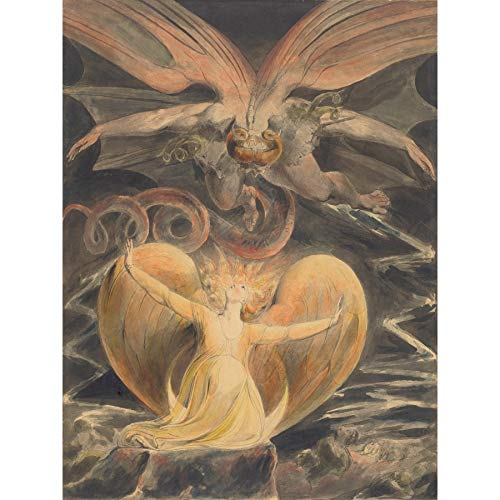 William Blake Great Red Dragon Woman Clothed with Sun Large Art Print Poster Wall Decor Premium Mural Großartig Drachen Frau Große Kunst Wand Deko