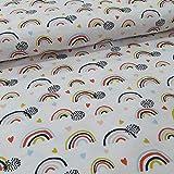 Schickliesel Bio Jersey Stoff Meterware Regenbogen weiß