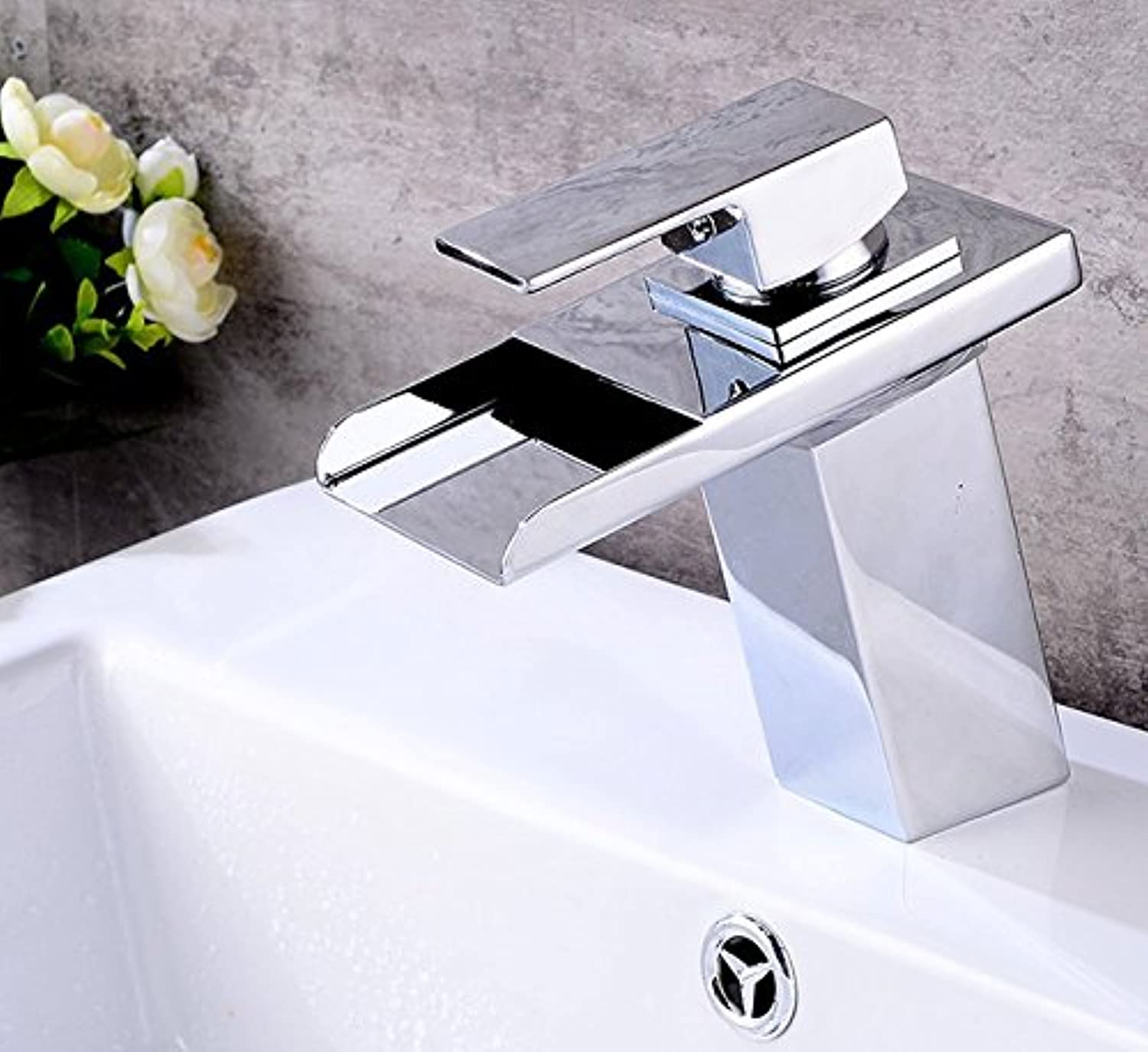 Mangeoo Faucet Led color Changing Faucet Washbasin Full Copper Temperature Control color Change Bathroom Cabinet Ceramic Basin Waterfall Basin Faucet
