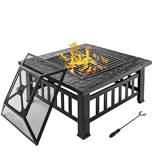 Pozo de fuego al aire libre, fuego de 32 pulgadas con fuego de leña grande, firepits de azulejos de mármol cuadrado, incluye pantalla, portada y log Poker, ideal para Pájaro Patio de Patio Backyard