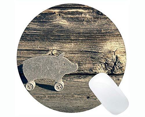 Yanteng Alfombrilla de ratón Redonda Antideslizante para Juegos Lovely Pig, Lucky Pig Funny Cute Piggy Gaming Round Mouse Pad