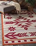 Unique Loom Modern Collection Warm Colors Arrows Transitional Indoor and Outdoor Flatweave Area Rug, 4 x 6 Feet, Burgundy/Beige
