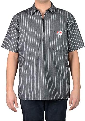 Ben Davis Men s Short Sleeved Half Zipper Work Shirt Large Butcher Block Stripe Black product image