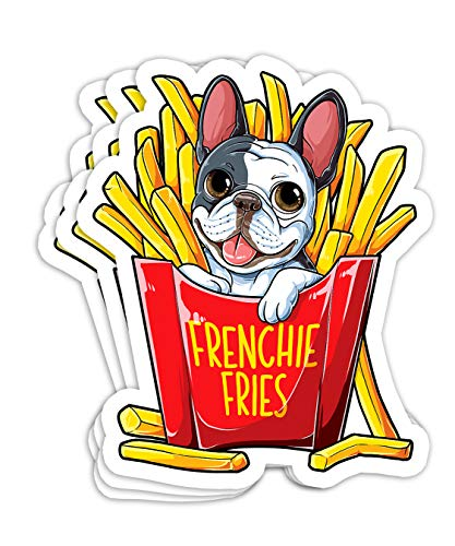 Frenchie Fries French Bulldog Men Women Funny Gift Decorations - 4x3 Vinyl Stickers, Laptop Decal, Water Bottle Sticker (Set of 3)