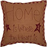 VHC Brands Ninepatch Star Home Text Cotton Primitive Bedding Embroidered Square Pillow, 1 Count (Pack of 1), Burgundy Red