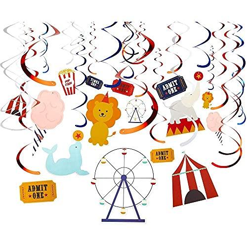 Juvale Decoración de espirales de 30 hilos, diseño de circo para cumpleaños, decoración de fiestas, esmeriladores de techo, varios diseños y colores, longitud de colgante: 86,36 a 91,44 cm