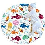 PLOKIJ Pequeña alfombra circular antideslizante redonda alfombra lavable piso alfombra uso para guardería, peces coloridos gancho caracol pulpo