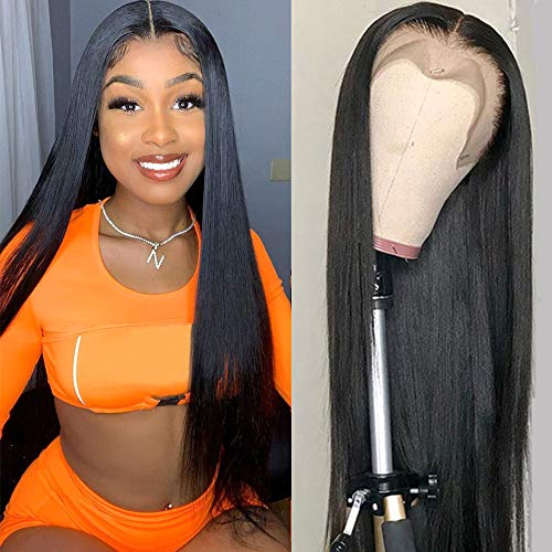 Lace Front Wig Human Hair 26 inch Straight Lace Frontal Wigs For Black Woman 13x4 Lace Front Wigs Pre Plucked Hairline with Baby Hair 150% Density 10A Dyale Natural Black Hair Wig(26 inch)
