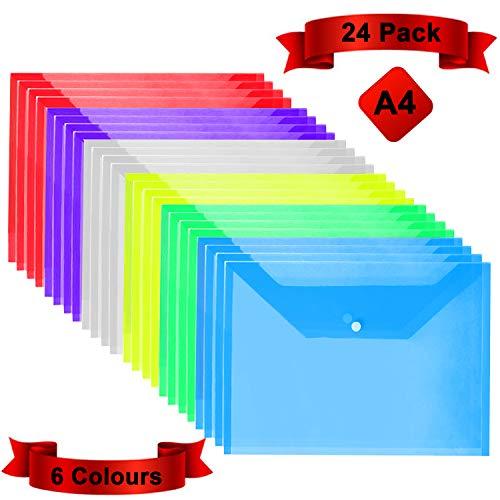 Dokumentenmappe mit Druckknopf A4 (24er-Pack) - Transparente Dokumententasche A4 in 6 verschiedenen Farben- Sichtmappe - Wasserfeste Sammelmappe für staubfreie Dokumente, Zertifikate, Tickets