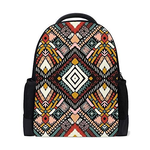 HaoXiang Freizeit-Rucksack für Mann und Frau, wasserdicht, Polyester-Netz, Ethnischer Teppich mit Chevrons