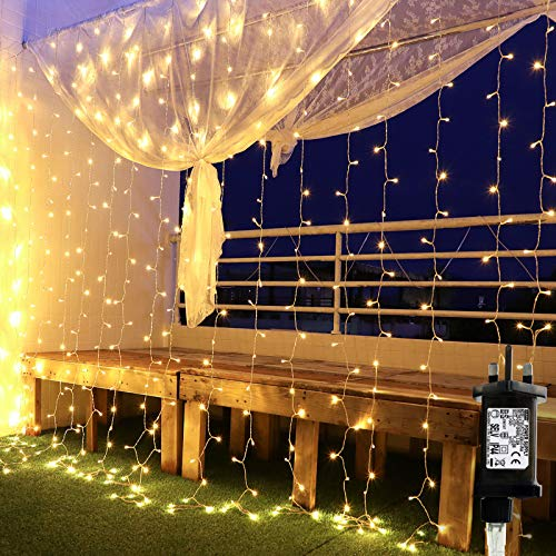 Curtain String Fairy Lights 3x3m 300 LEDs, Window Lights Christmas Decorations, 8 Different Lighting Modes Waterproof Copper String Lights for Outdoor Indoor Wedding Bedroom