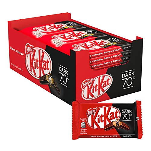 Nestlé KitKat Chocolate negro 70% - Barritas de chocolate negro, Snack de chocolate 24x41,5g