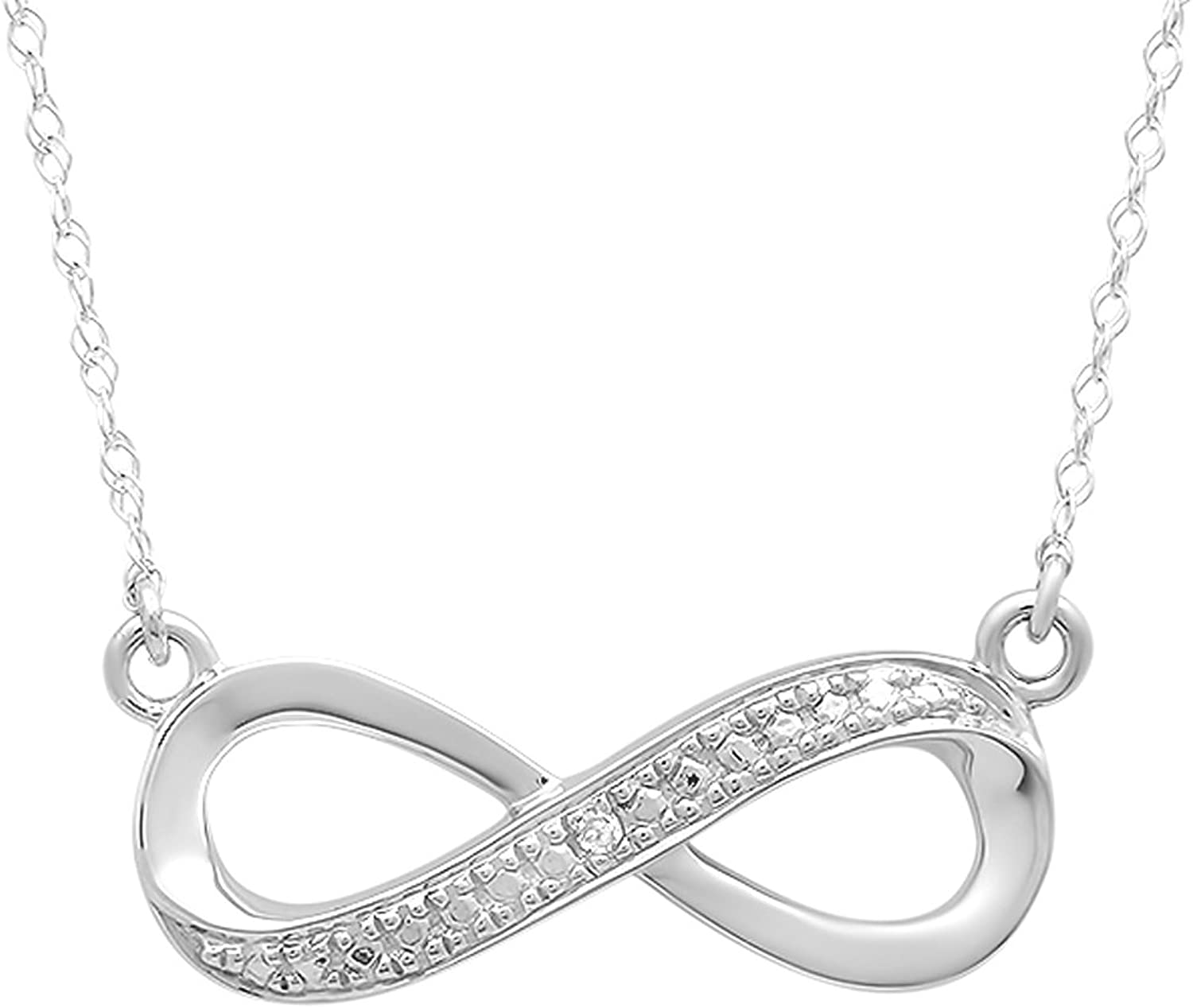 0.02 Carat (ctw) Sterling Silver Round White Diamond Ladies Infinity Solitaire Pendant With Free Chain
