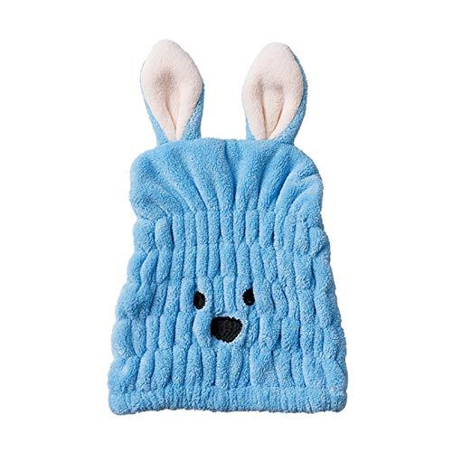 WFF sombrero Toalla de secado para el cabello para niños niñas, lindo conejo de dibujos animados ultra absorbente terciopelo de coral para niños sombrero de pelo seco seco rápido baño ducha cabezal to
